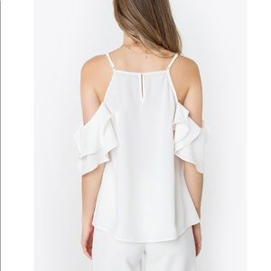Sugarlips Tops - White Ruffled Cold Shoulder Top